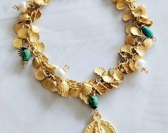 Bracelet - CAMINO Bracelet - St James of Compostela - 18K Gold Vermeil, Freshwater Pearls & Sinai Turquoise