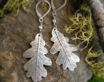 Oak Leaf Earrings - Woodland Leaf Earrings - Real Leaf Earrings - Silvan Leaves - Artisan Fine Silver