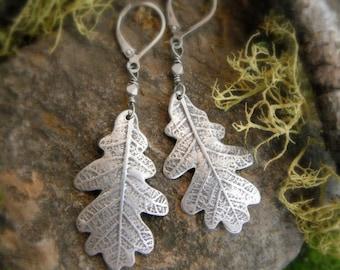 Oak Leaf Earrings - Woodland Leaf Earrings - Real Leaf Earrings - Silvan Leaves - Artisan Fine Silver