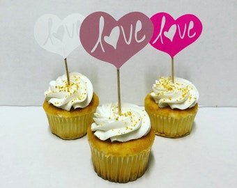 Heart Love Cupcake Toppers Shimmer Hot Pink White