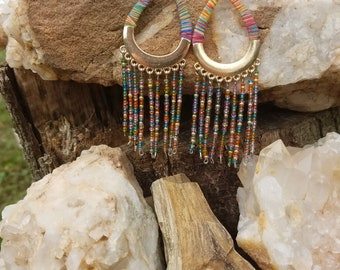 Rainbow Beaded Dangle Earrings