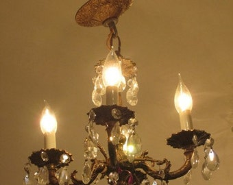 Spanish chandelier etsy petite 4 arm crystal and brass chandelier spanish ca 1930s aloadofball Images