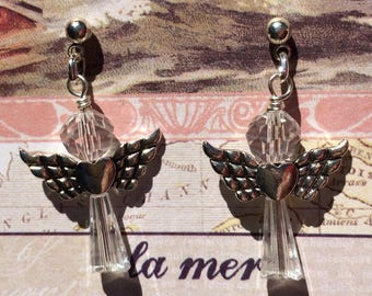 Angel dangle earrings with clear cut crystal beads