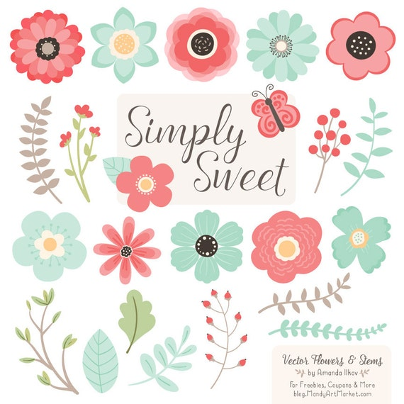 Cute Flowers Clipart in Mint & Coral Mint and Coral Vector