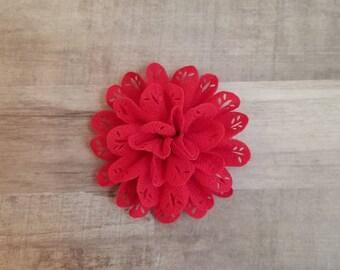 "4"" Eyelet Flower, large flower puff, fabric flower, Eyelet flower, DIY supplies, Headband flower, Red Flower, hollow fabric flower, Red"