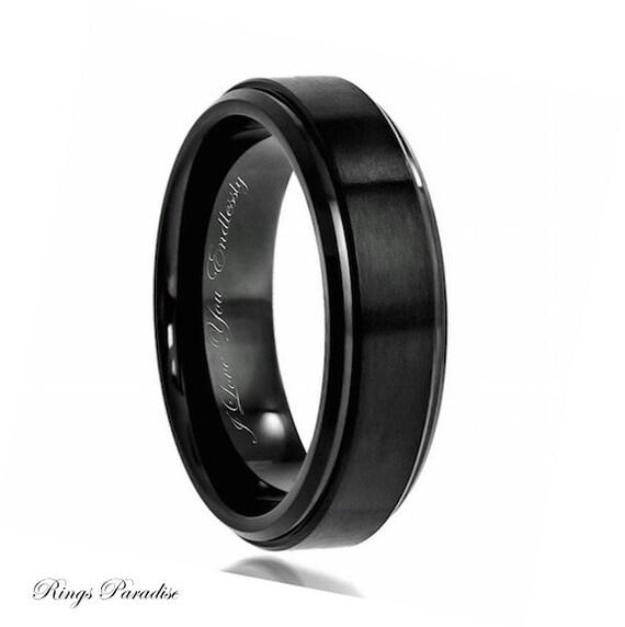 Black Wedding Band Mens Wedding Band Black Ring Men Promise