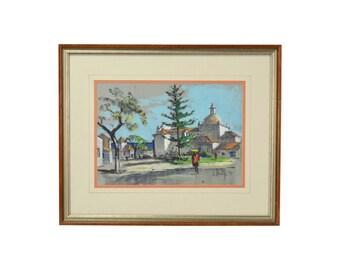 1969 Frank Beatty Pastel Gouache Painting Church in Albuferia Portugal