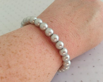 Silver Pearl Bracelet, Silver Bridesmaid Wedding Jewelry, Silver Wedding, Silver Beaded Jewelry, Light Gray Pearl Bracelet, Bridesmaid Gift