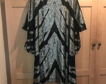 Vintage 70s Kaftan- Silver Mini Dress- Semi Sheer Dress- Disco Clothing- Festival Fashion- Festival Outfit- Burning Man- Vintage Avant Garde