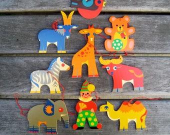 Clown & Animals Cut-out Ornaments