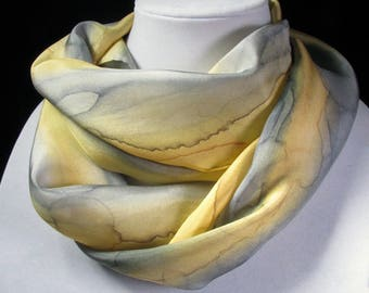 Silk Scarf, Hand Painted Silk Scarf - Gift, Christmas Gift, Quintessence Silk - Yellow Grey Rain