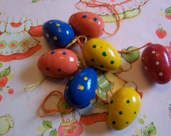 eight fun colorful polka dot eggs