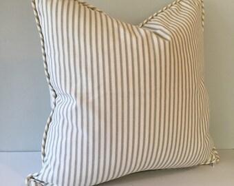 Gray Ticking Stripe Throw Pillow Cover 18x18