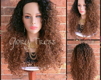 READY To SHIP //Long Big Kinky Curly Half Wig, Ombre Wig, Beach Curly Afro Wig, African American Wig // AMAZING 2