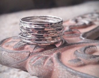 Hammered Stack Rings- Set of 10 Sterling Silver rings