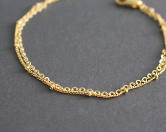 Beaded bracelet// satellite bracelet// double layering bracelet// Gold