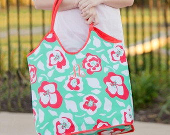 Flora Bora Viv & Lou® Beach Bag, Floral Beach Tote, Monogram Beach Bag, Monogram Beach Tote, Personalized Beach Tote, Personalized Beach Bag