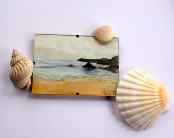 Original Mini Watercolour Paintings Coastal in Mini Clip Frames. Cornwall