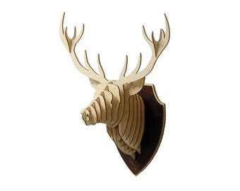 Wooden Deer Head Trophy Birch Wood Deer Head Wood Wall Art Home Decor Animal Art
