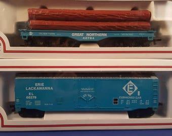 Vintage Bachmann Box Cars...HO Scale...electric train sets...ho trains...model trains for sale..log carrier car...Union Pacific