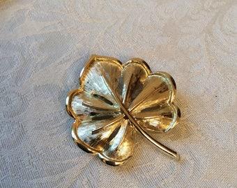 Coro brand Leaf Brooch Goldtone 1940's
