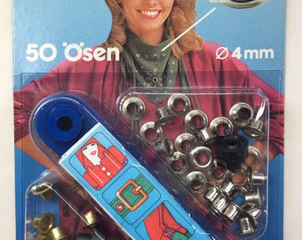 Eyelets 4mm, Prym 50 Pack, of Silver and Gold Eyelets 4 mm Made in West Germany
