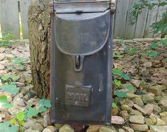 Black Cast Iron Antique Mail Box Letter Box Mailbox