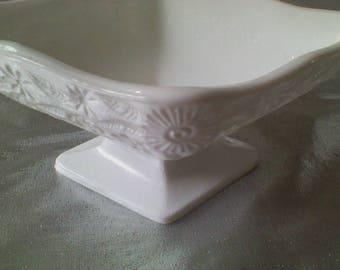 Indiana Glass Diamond Shaped Milk Glass Small Compote