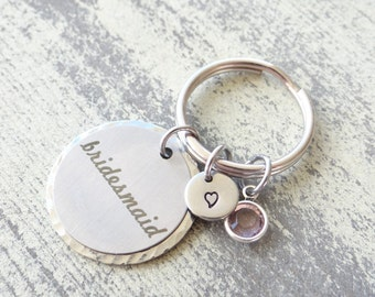 Bridesmaid keychain, bridesmaid gift, bridesmaid , stamped keychain, bridal jewelry, high heel, wedding party, wedding