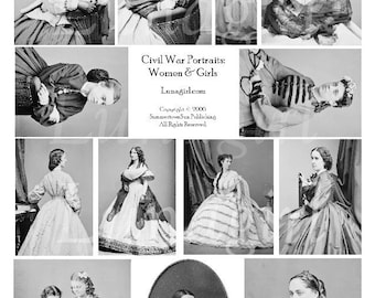 Victorian WOMEN GIRLS digital collage sheet, Vintage Photos, Gothic ladies fashions antique civil war dresses, altered art ephemera DOWNLOAD