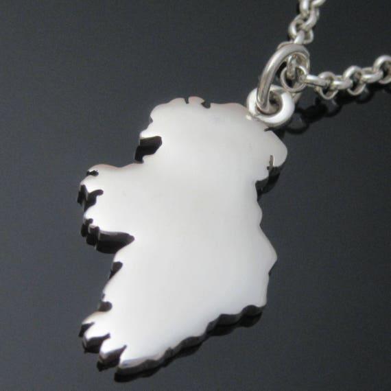 Silver Hand-cut Irish Map - Map of Ireland - Personalised Stone-set Silver Irish Map - Irish Jewelry
