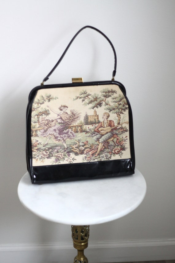 1950s large tapestry purse // 1950s tapestry purse // vintage purse
