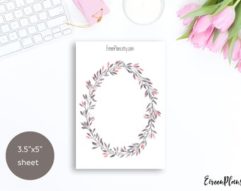 Large Watercolor Floral Wreath, Bullet Journal Stickers, Deco, Flower, Journaling, Travelers Notebook, BuJo Stickers, GrayW