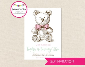 Teddy Bear Birthday Invitation, Build a Bear Birthday, Teddy Bear Printables, Teddy Bear Birthday Decorations, Lauren Haddox Designs
