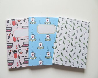Books & Tea, Leaves and Makeup - Pack of Pocket size Journals - Pack of 3 Notebooks - A6 - Blank Pages