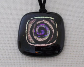 Square black pendant with spiral