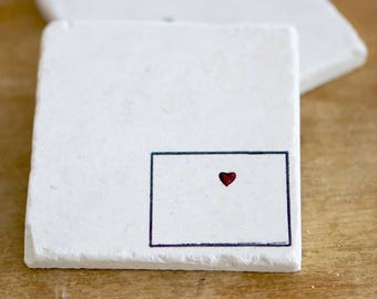 Colorado Home/Colorado Marble Coasters/Colorado Love/ Colorado Heart/ Colorado Gift/ Stone Coasters/ personalized coasters/lace grace peonie