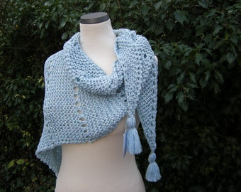 Scarf, triangle cloth, triangle, wrap, knitted, tassels, ice blue