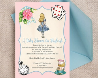Personalised Alice in Wonderland Baby Shower Invitation Cards