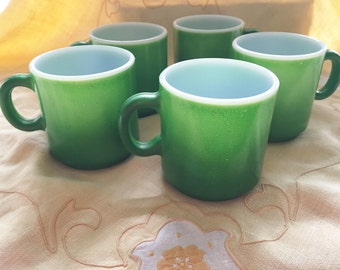 Coffee cups 5 green stackable