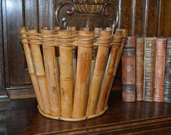 Vintage Bamboo Wood Planter Basket or Wastebasket
