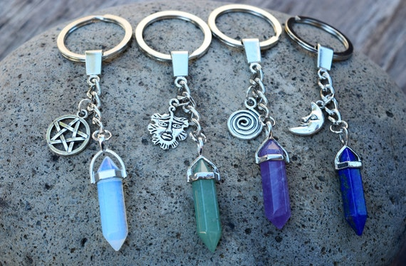 Crystal Keychain, Pentagram Key Chain, Green Man Aventurine Ring, Moon, Lapis Lazuli, Rose Quartz, Amethyst, Opalite Moonstone, Greenman
