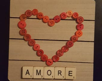 Button Heart Amore Plaque