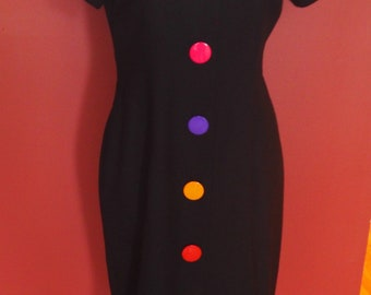 """1980""""s Saucer Button Vintage Dress/Periwinkle"""