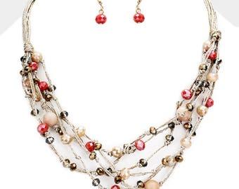 Multi Strand Multi Bead Bib Necklace Pink