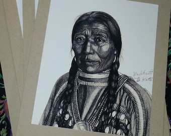 Woman of Blackfoot Tribe, a set of 3 blank cards
