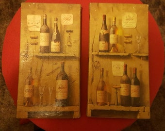 Set of 2 lithographs on Canvass for that Wine lover.