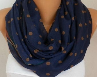 Mother's day gift,Dark Blue&Beige Polkadot Cotton Scarf,Soft,Birthday Gift,Cowl, Oversized Gift For Her, Women Fashion Accessories