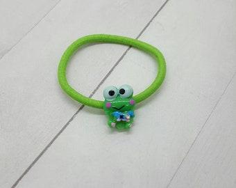 Frog ponytail holder, hair tie, hair elastic  (PH013)