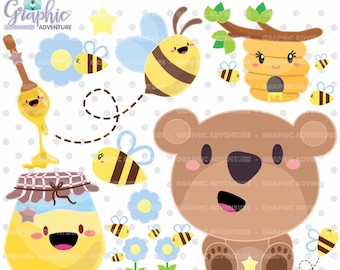 Bear Clipart, Bear Graphic, COMMERCIAL USE, Kawaii Clipart, Bear Party, Planner Accessories, Animal Clipart, Teddy Bear, Teddy Clipart